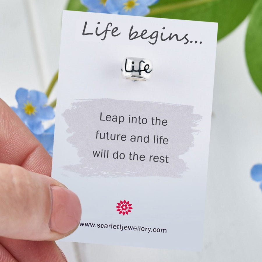 Life Begins 50th birthday mojo charm bead Scarlett Jewellery