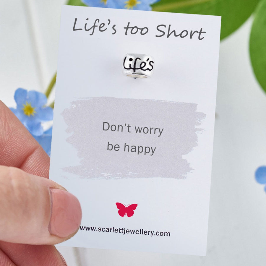 Life's Too Short Positive Phrase Quote Gift Scarlett Jewellery