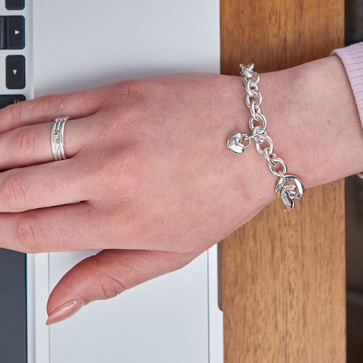 Traditional style designer silver charm bracelet with T-bar clasp Scarlett Jewellery