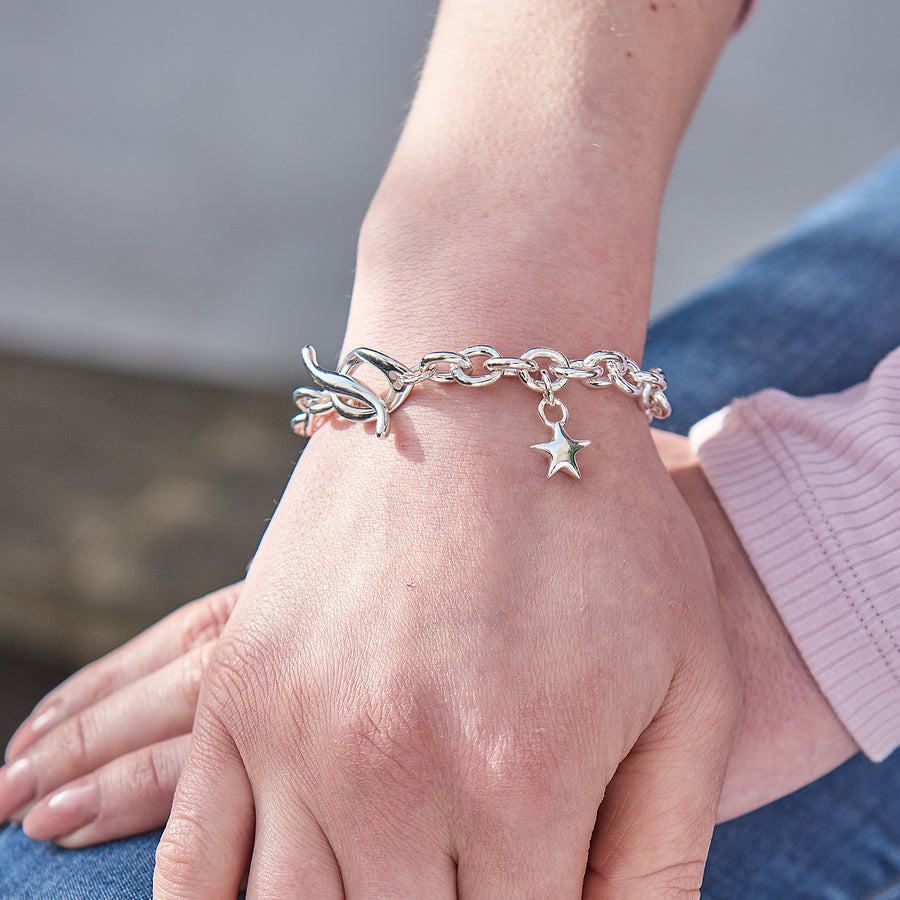 Star Silver Charm Bracelet with traditional T-bar and lock