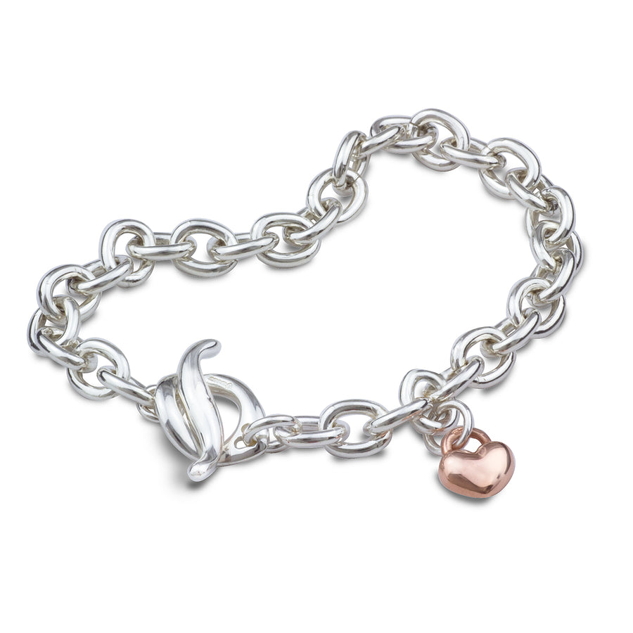 Lifetime Traditional Vintage Style Silver Charm Bracelet with Rose Gold Heart