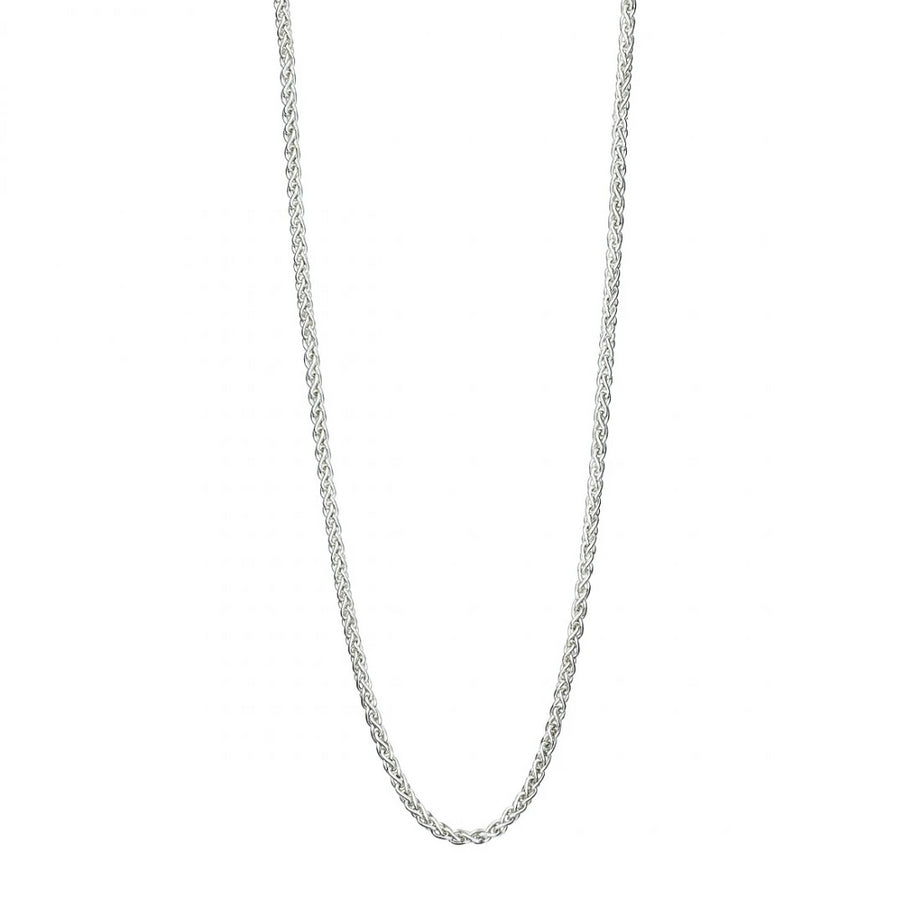 Sterling Silver Spiga Chain Necklace - Light Weight