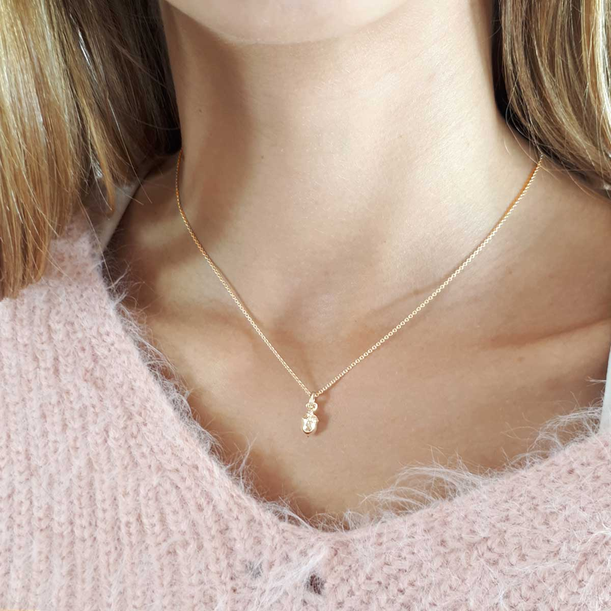 Solid rose gold acorn necklace designer Scarlett Jewellery Brighton