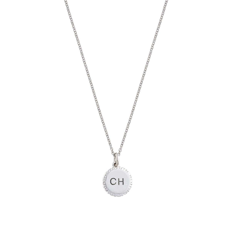 designer personalised pendant engraved with initials with border of hearts all way round scarlett jewellery