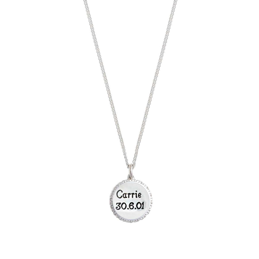 Personalised name and date designer necklace solid sterling silver made in UK Scarlett Jewellery