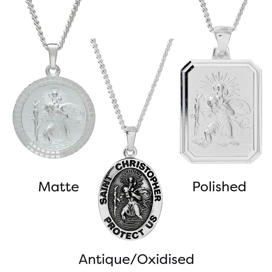 'Protectus' St Christopher Dog Tag Personalised Silver Necklace