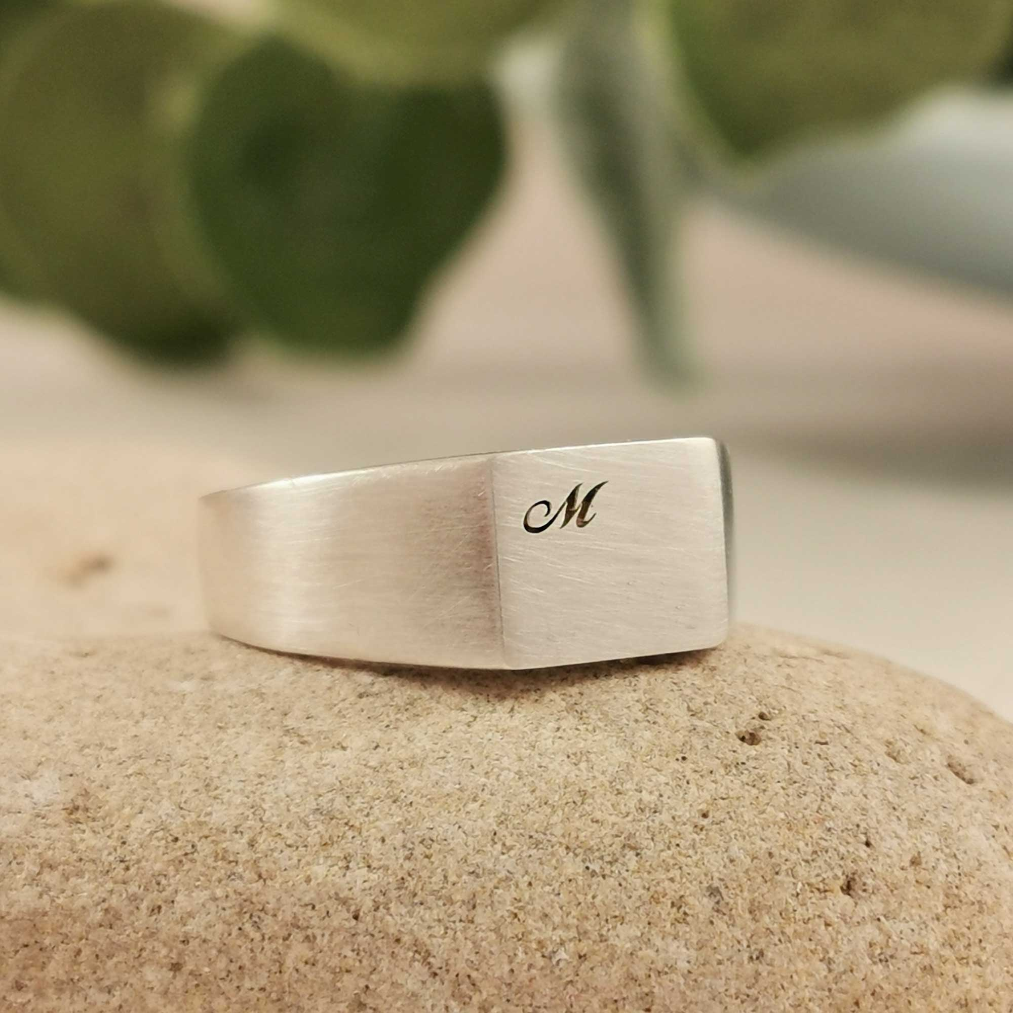 Script Initial Personalised Square Silver Signet Ring
