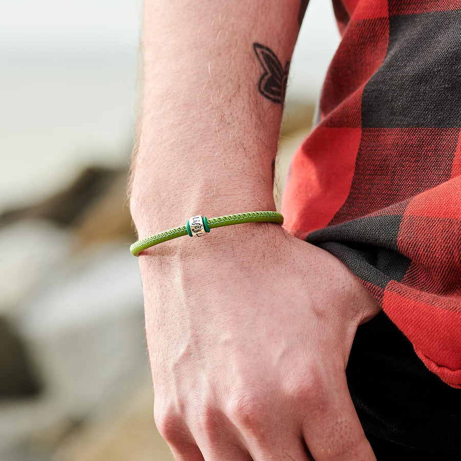 mens green leather bracelet with recycled silver bead engraved one life live it
