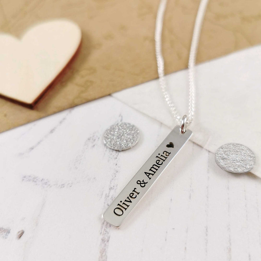 Personalised solid sterling silver tag necklace engraved with name date or message Scarlett Jewellery