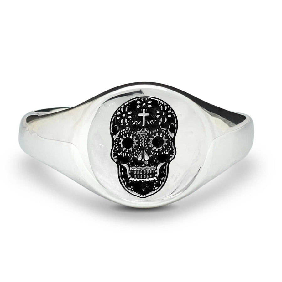 mens silver sugar skull signet ring day of the dead jewellery design scarlett Jewellery Off The Map