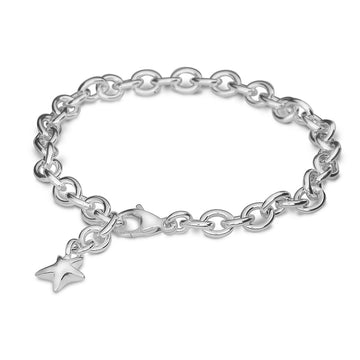 Solid silver adjustable charm bracelet with star Scarlett Jewellery