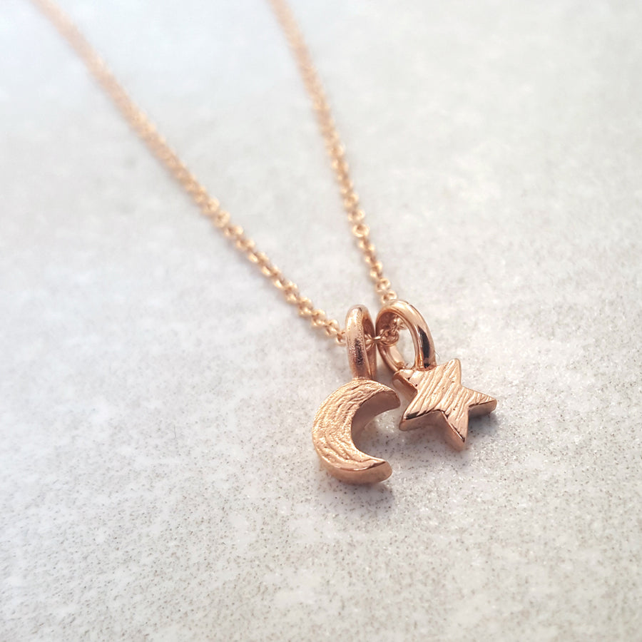 Small rose gold star and moon pendant for teens young girls handmade designer Scarlett Jewellery