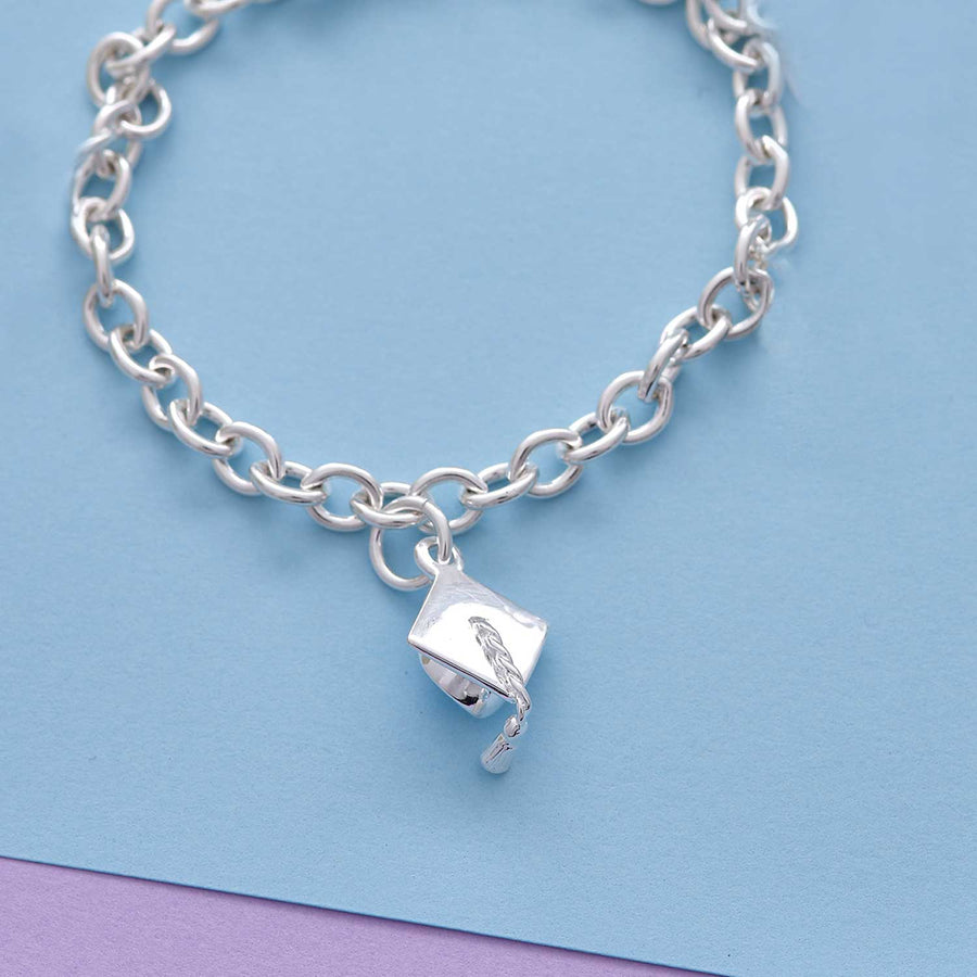 Mortar Board Silver Charm Bracelet Graduation Gift For Her
