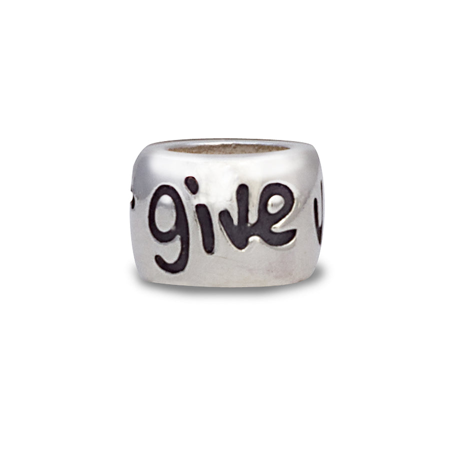 Never give up positive engraved silver charm gift for bracelets