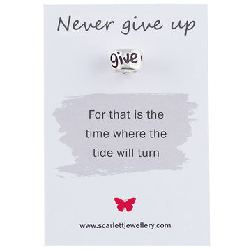 Never give up positive engraved silver charm for bracelets