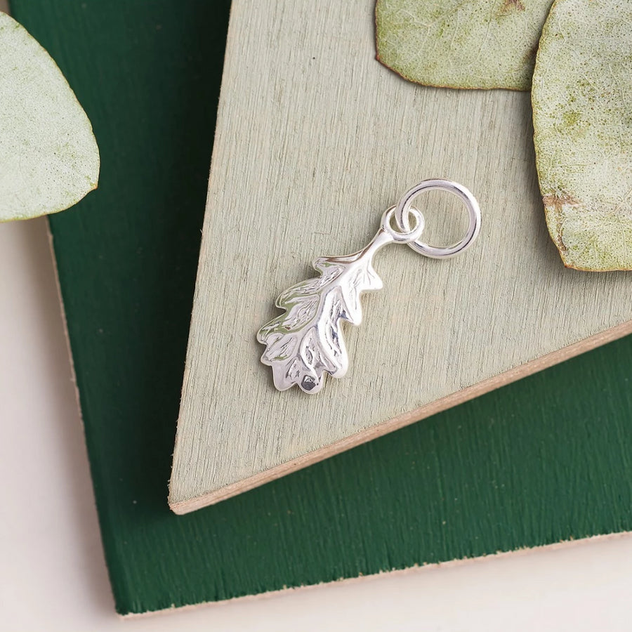 Oak Leaf Autumn Fall Silver Charm