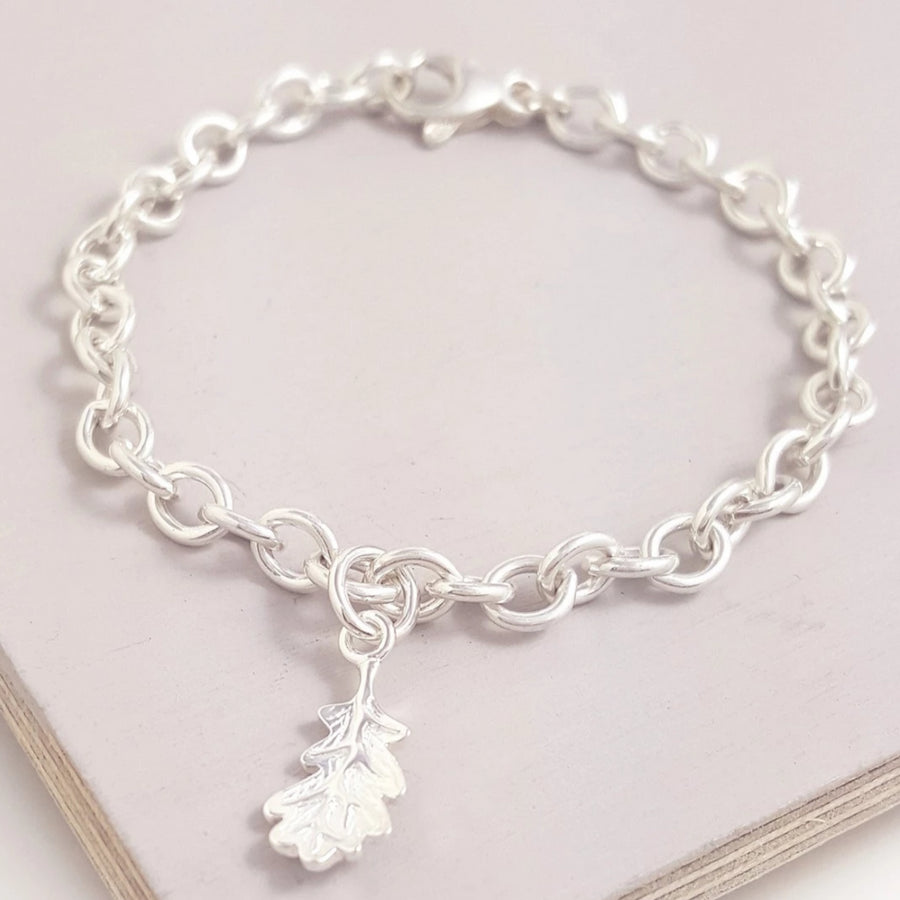 Oak Leaf Autumn Fall Silver Charm Bracelet