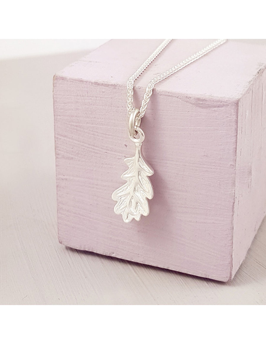 Oak Leaf Autumn Fall Silver Charm Necklace