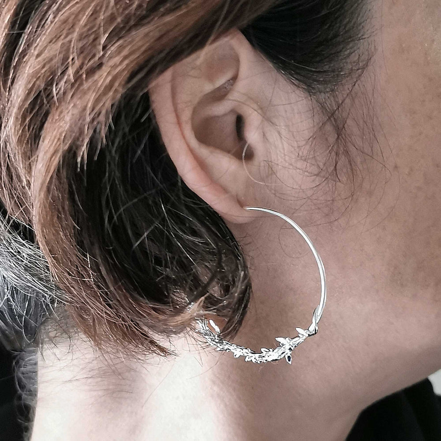 Olive Branch Silver Hoop Earrings