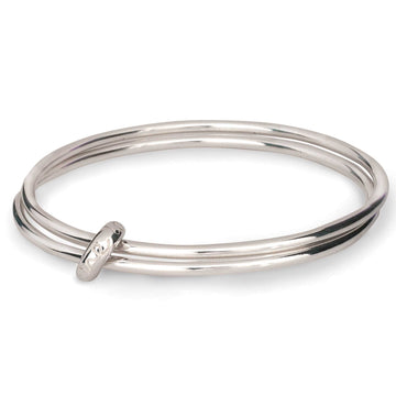 One Love Silver Double Bangle