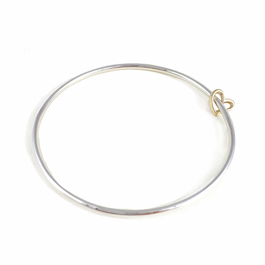 Solid silver and gold open heart charm bangle designer bracelet Scarlett Jewellery