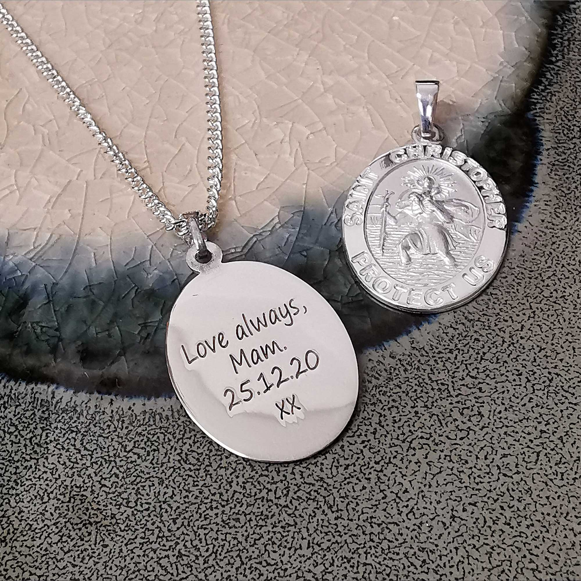 love you always engraved back of saint christopher medal pendant