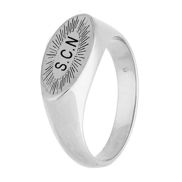 Sunburst Initial Oval Silver Signet Ring