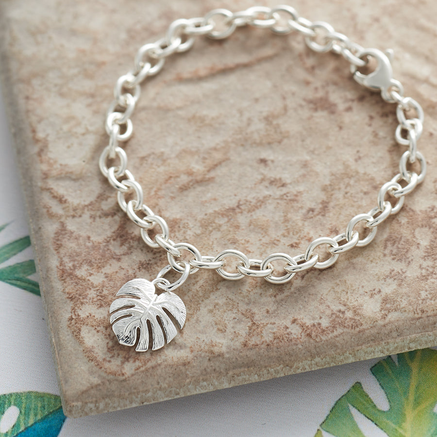 Monstera Palm Leaf Silver Charm Bracelet Scarlett Jewellery