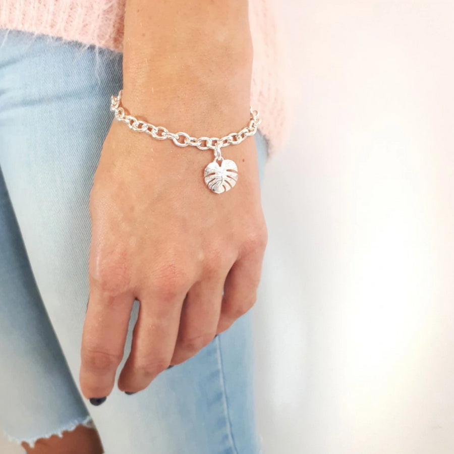Monstera Palm Leaf Sterling Silver Charm Bracelet