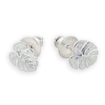 Monstera Palm Leaf Silver Stud Earrings Designer Scarlett Jewellery