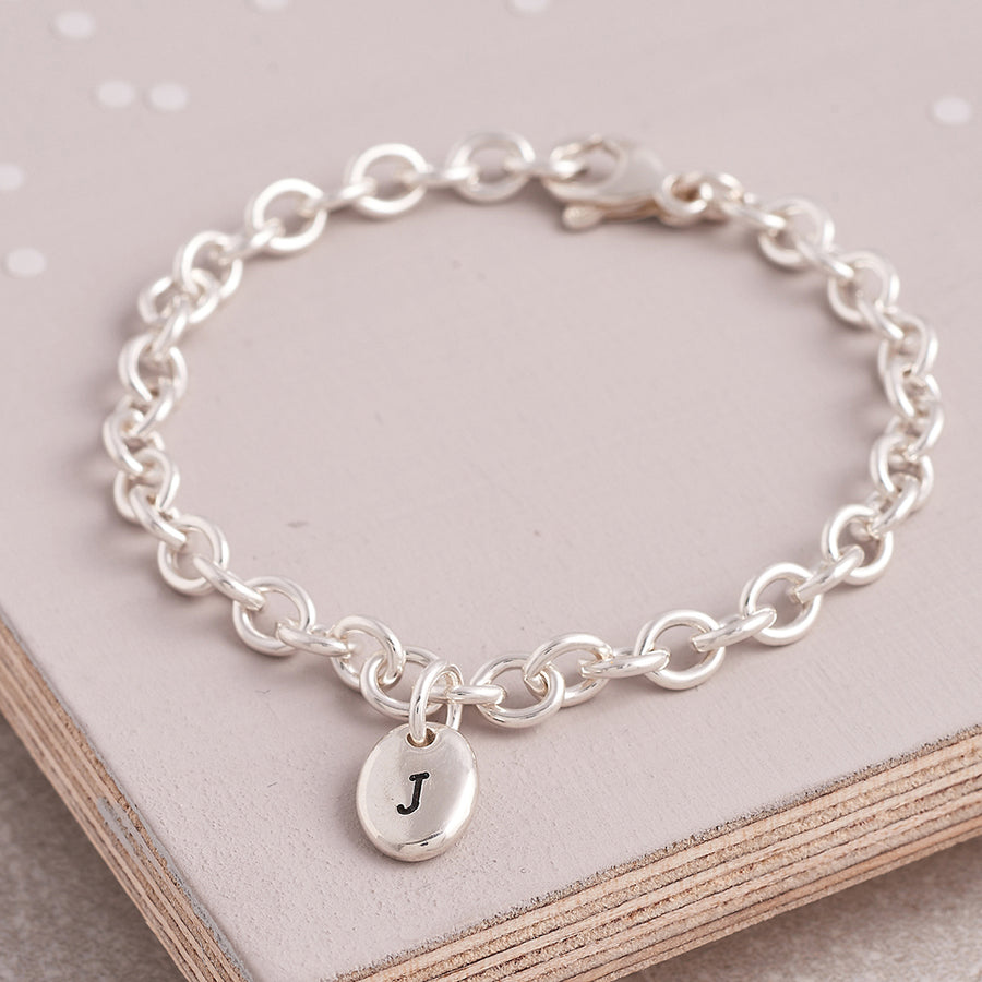 Personalised initial pebble charm bracelet Scarlett Jewellery