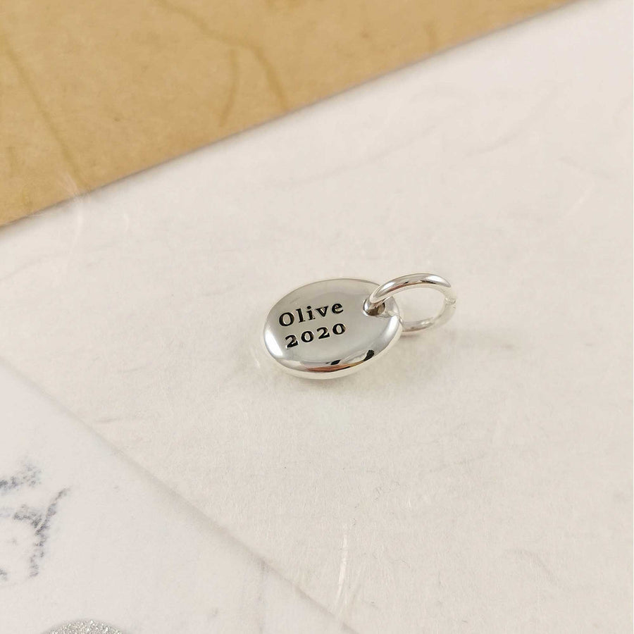 Pebble Personalised Initial Silver Charm
