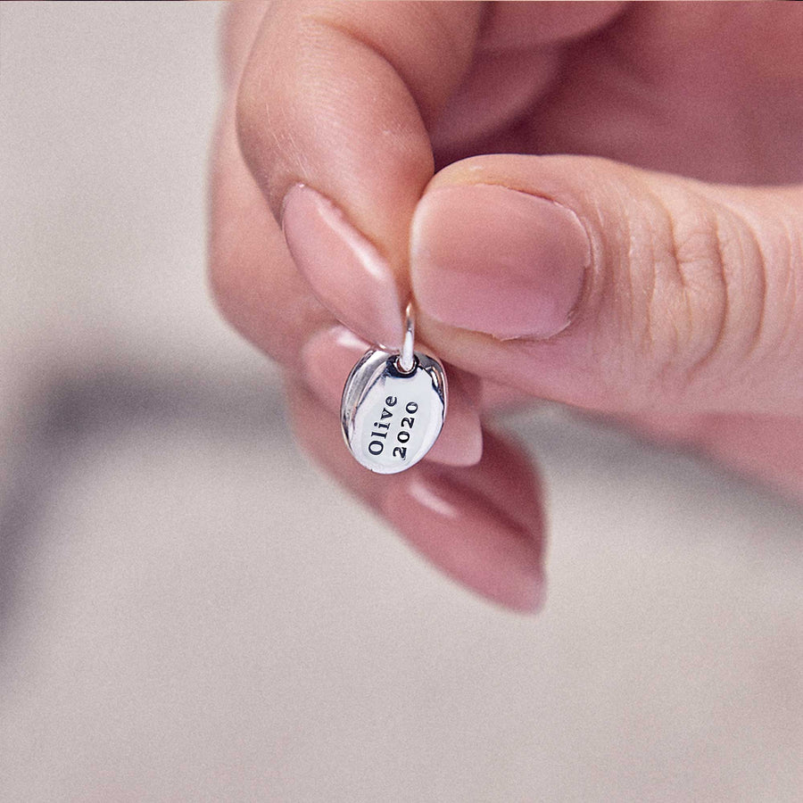 Pebble Personalised name and date Silver Charm