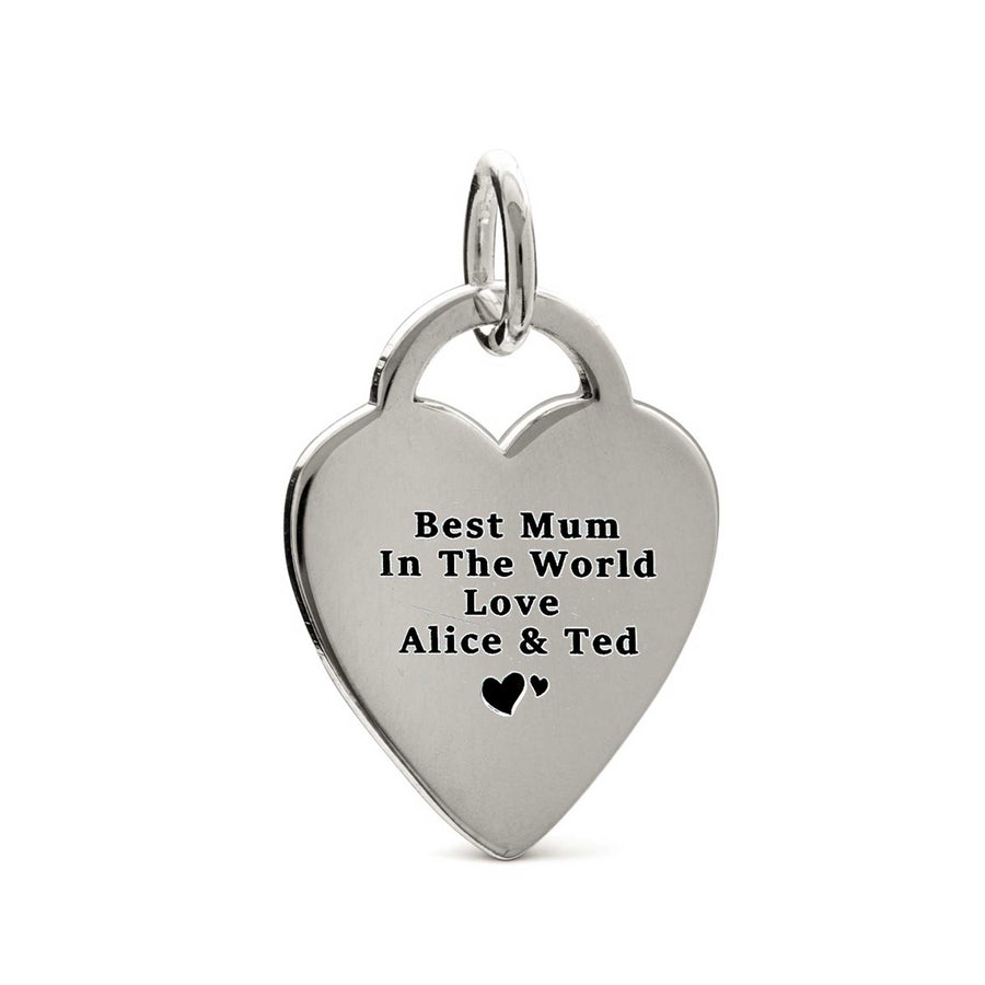 personalised heart tag large tiffany style silver charm for bracelet necklace