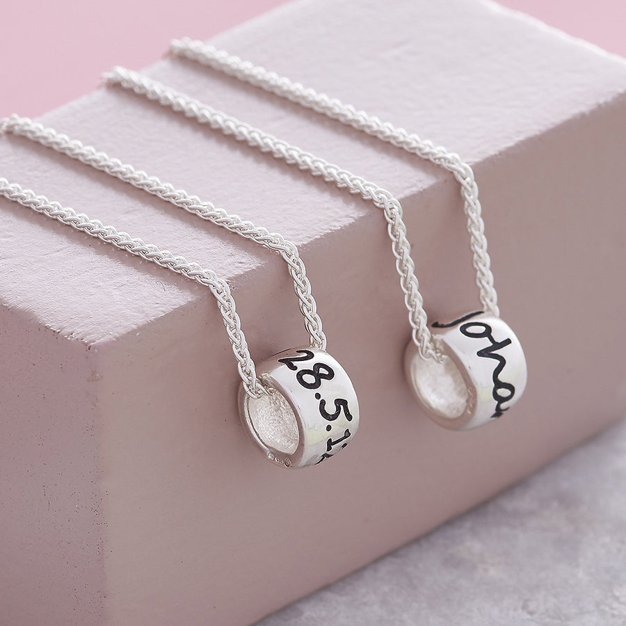 Personalised Silver Engraved Charm Bead Designer Charms on a silver necklace