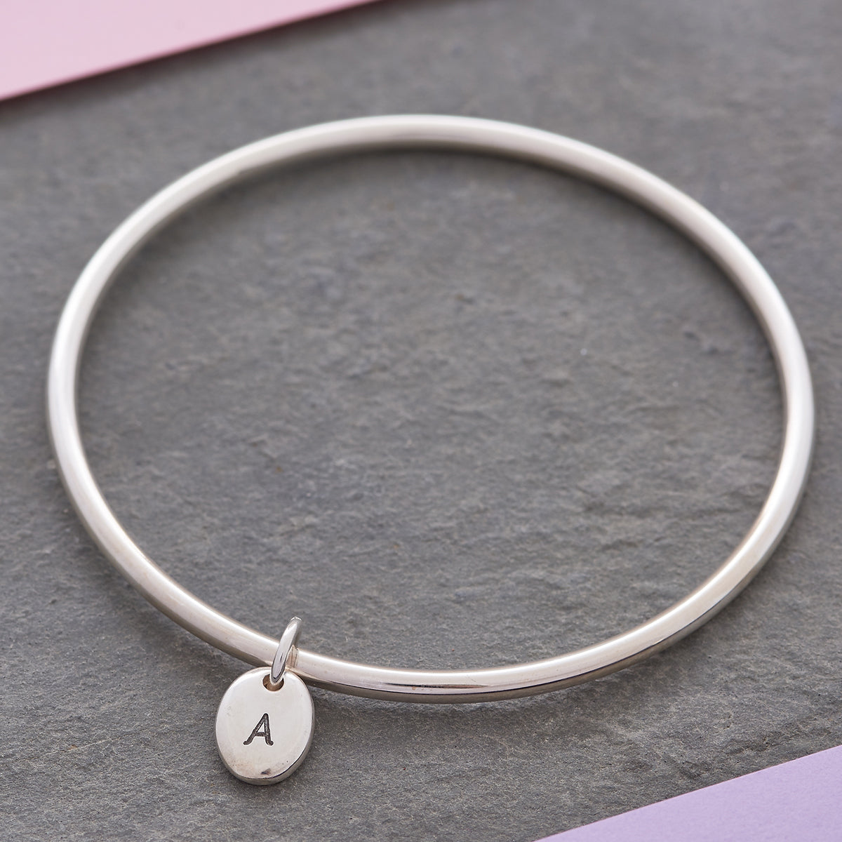 Personalised Pebble Silver Charm Bangle engraved with initial A
