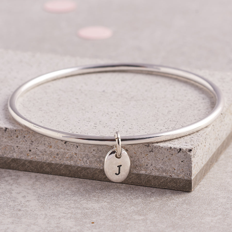 Personalised Pebble Silver Charm Bangle engraved with initial J