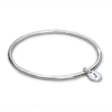 Personalised Pebble Silver Charm Bangle Scarlett Jewellery