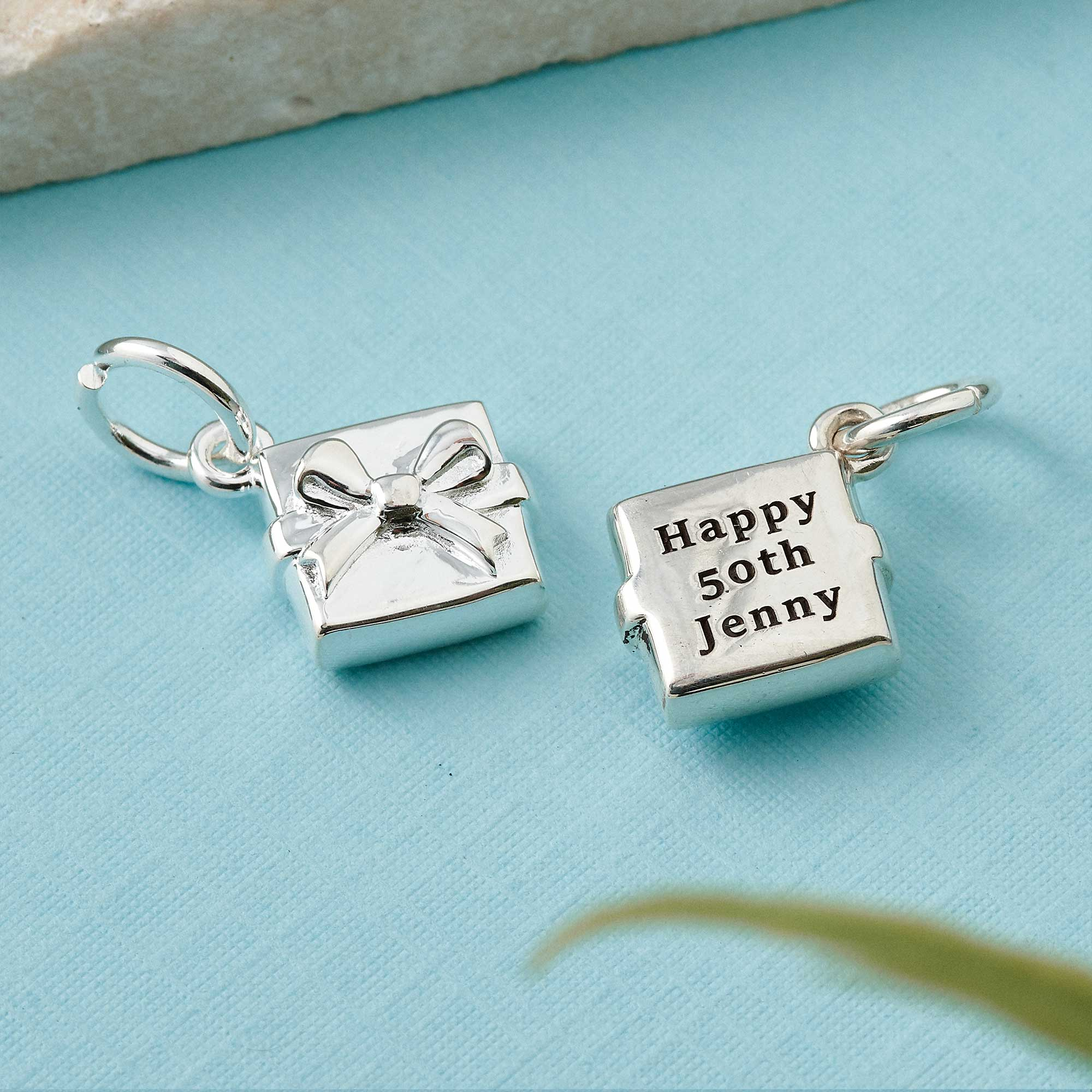 personalised gift wrapped box charm solid silver engraved 50th birthday present idea for friend