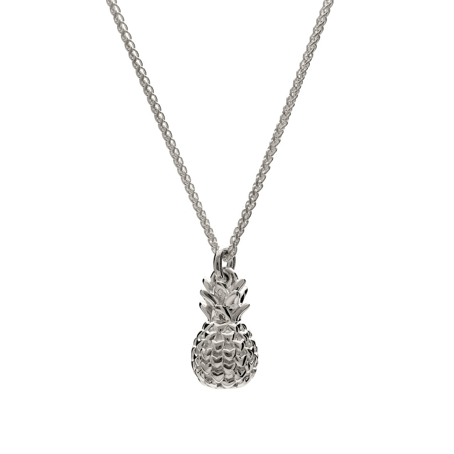 Chunky silver pineapple pendant necklace with heart spikes Scarlett Jewellery