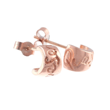 Rose Gold Que Sera Studs Engraved Worry Bead Designer Scarlett Jewellery