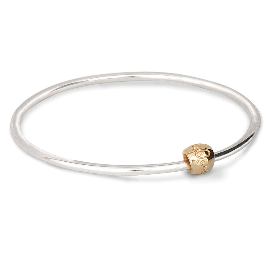 Que Sera Silver and Gold Worry Bead Bangle designer silver Mindfulness Gift Scarlett Jewellery