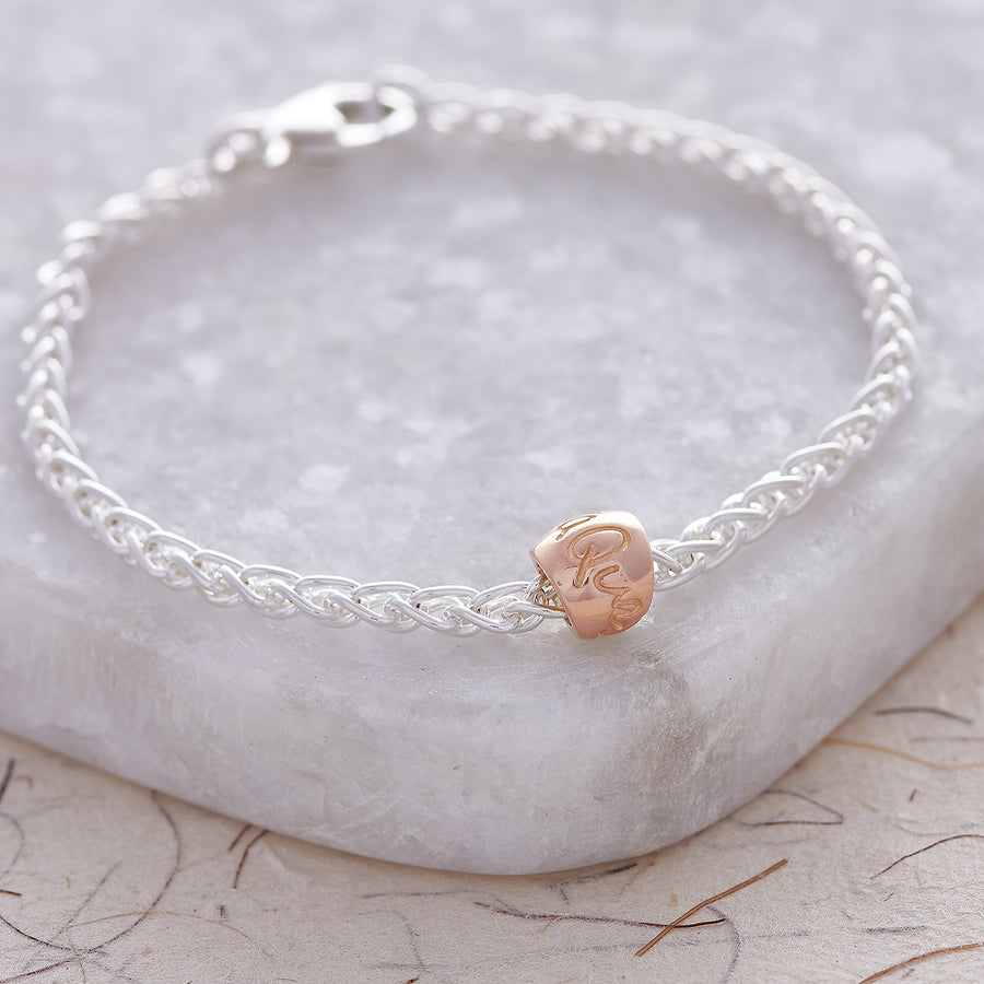 Que Sera Silver & Rose Gold Worry Bead Bracelet Mindfulness Gift Scarlett Jewellery