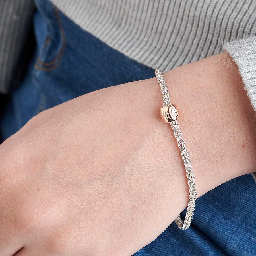 Que Sera Silver & recycled Rose Gold Worry Bead Bracelet Mindfulness Gift Scarlett Jewellery