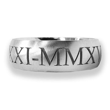 Roman Numerals personalised chunky mens thumb ring Scarlett Jewellery