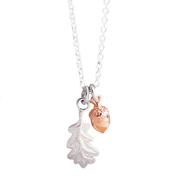 Little Acorn and oak leaf Solid Silver and Rose Gold Tiny Necklace Designer Scarlett Jewellery