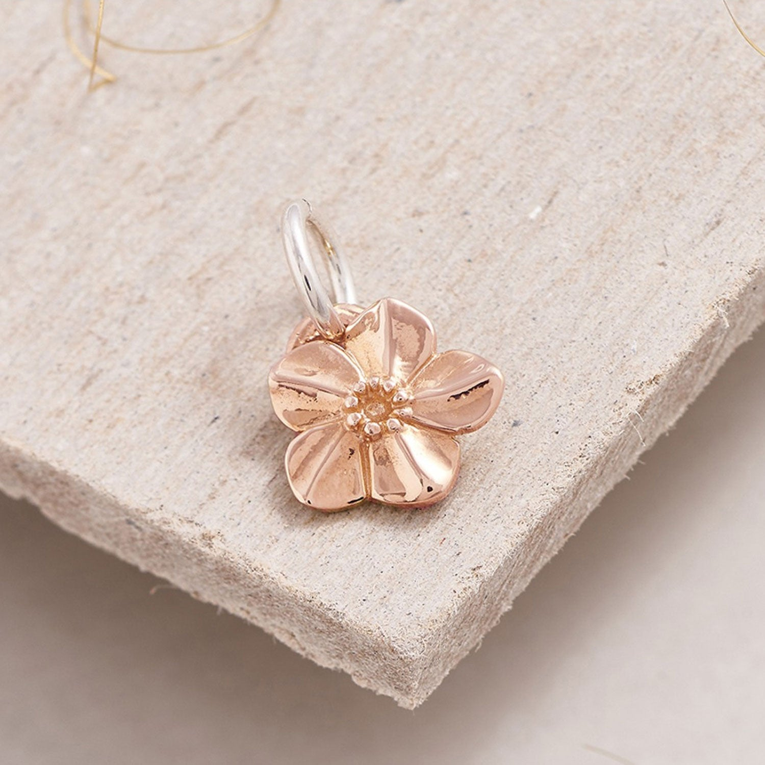 solid rose gold forget me not flower charm Scarlett Jewellery