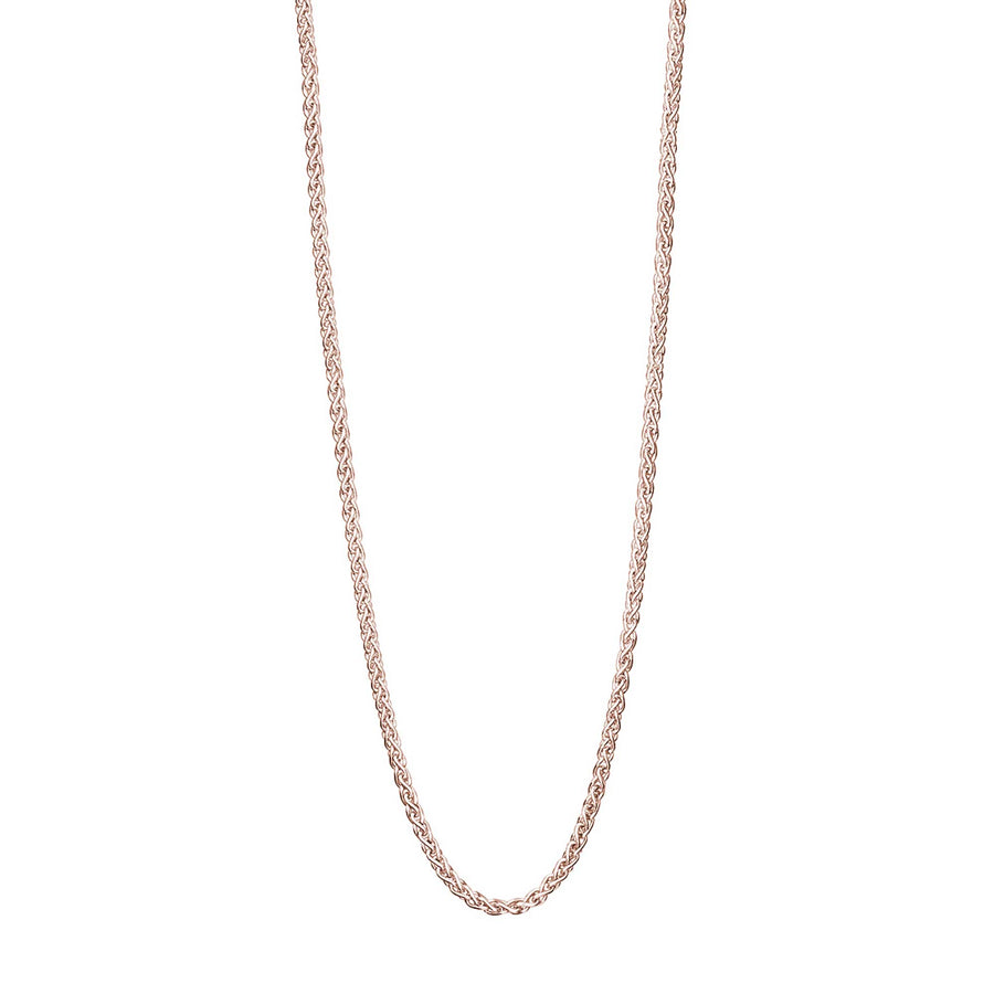 Solid rose gold spiga rope style chain necklace scarlett jewellery