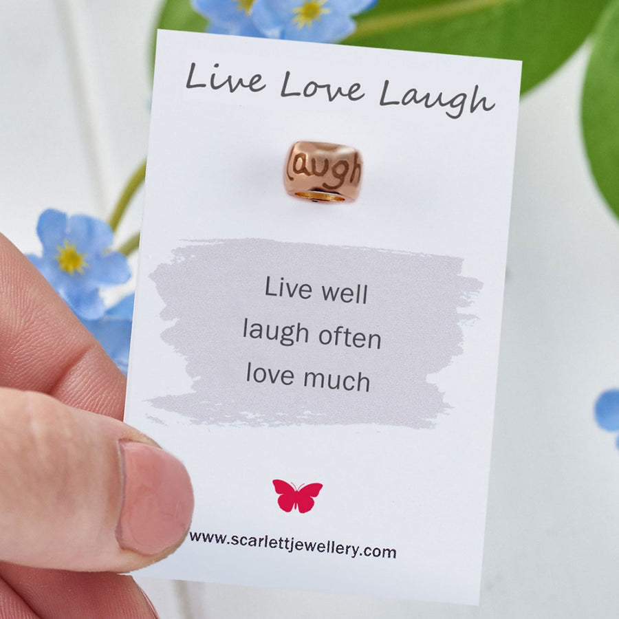 Live Love Laugh Positive Quote Rose Gold Charm Scarlett Jewellery