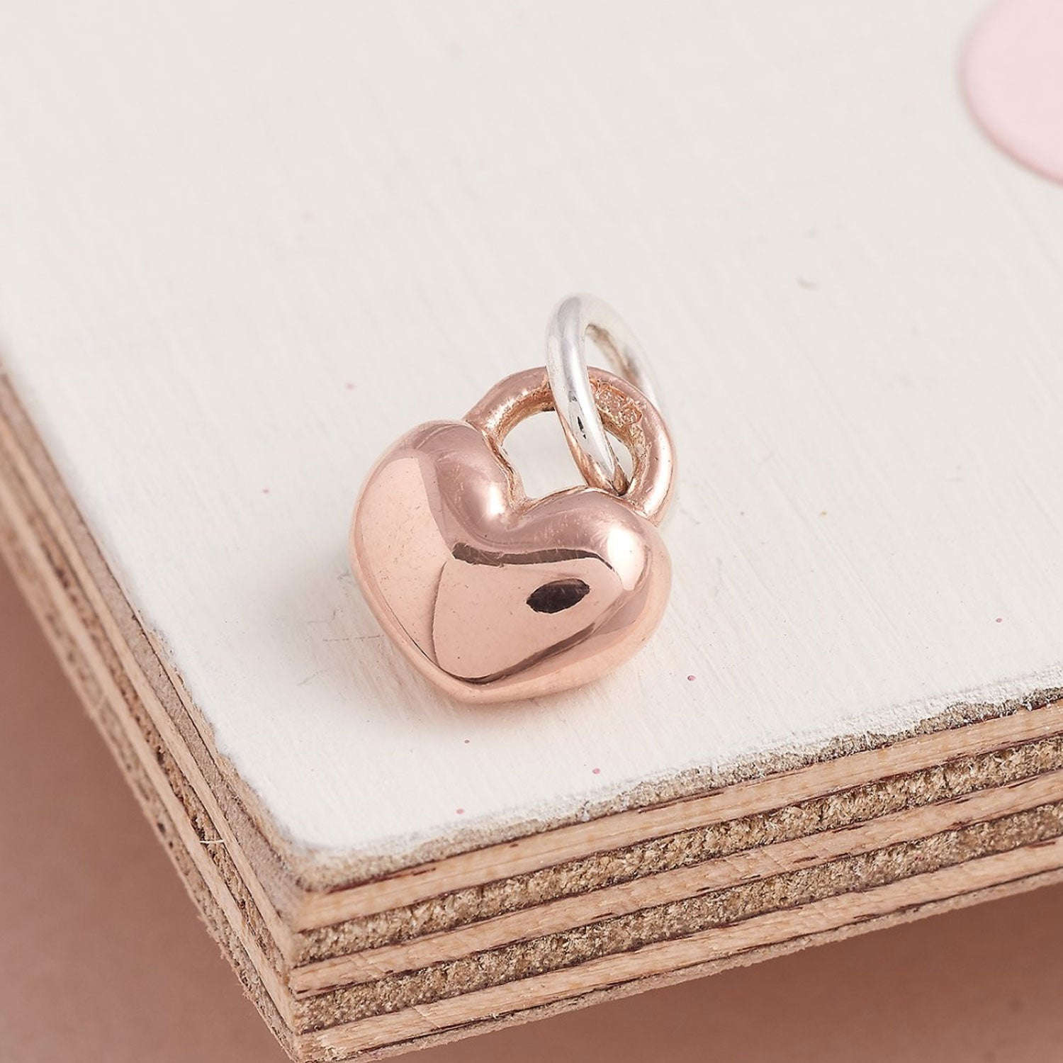 Solid rose gold chunky charm for bracelets Scarlett Jewellery